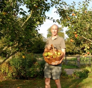 Alex in the U.K. gathering his Bramleys