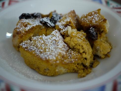 pumpkin bread pudding serving